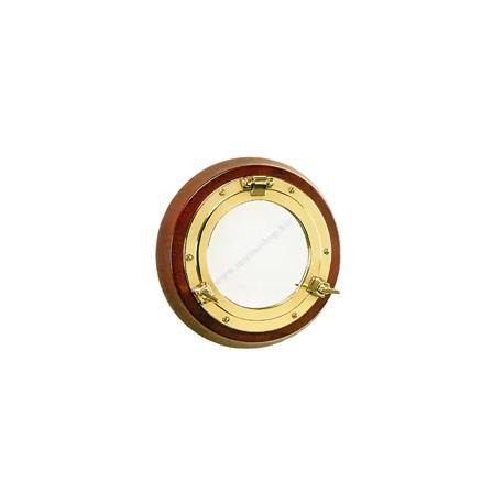 Miroir hublot 32 cm sur bois - 9509