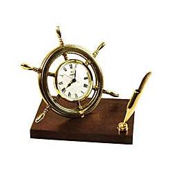 Horloge barre à roue sur socle bois - 9543
