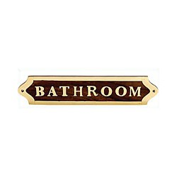 Plaque de porte laiton et bois BATHROOM - 040BATHROOM
