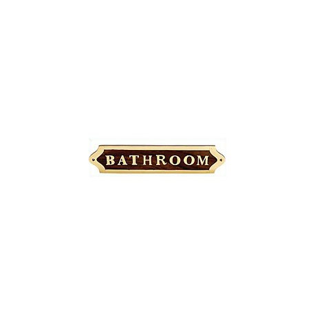 Plaque de porte laiton et bois BATHROOM - 040BATHROOM