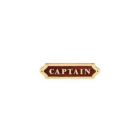 Plaque de porte laiton et bois CAPTAIN - 041CAPTAIN