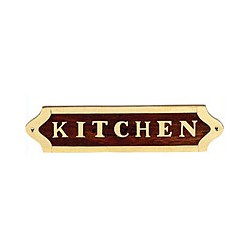 Plaque de porte laiton et bois KITCHEN - 042KITCHEN