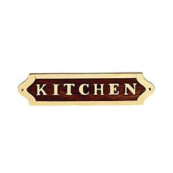 Plaque de porte laiton et bois KITCHEN - 042KITCHEN