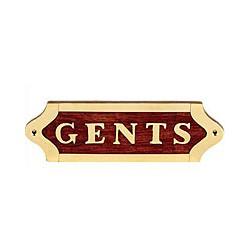 Plaque de porte laiton et bois GENTS - 043GENTS