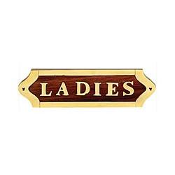 Plaque de porte laiton et bois LADIES - 044LADIES