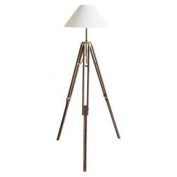 Marineshop - Lampe Trépieds en bois et laiton - H: 166/187cm