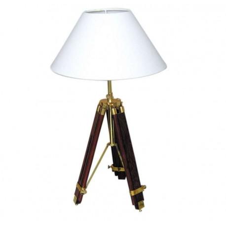 Marineshop - Lampe Trépied en bois et laiton - H: 43/83,5cm