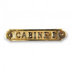 Plaque de porte laiton CABINE I