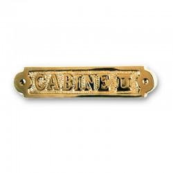 Plaque de porte laiton CABINE II