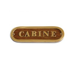Plaque de porte laiton CABINE version bois