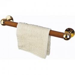 Porte-serviette en teck et laiton - longueur 33cm