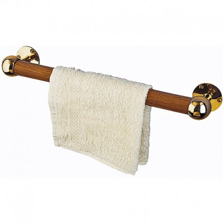 Porte-serviette en teak / laiton - dia. 3 cm