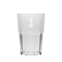 Verres hauts empilables polycarbonate 50cl decor ancre - Marineshop