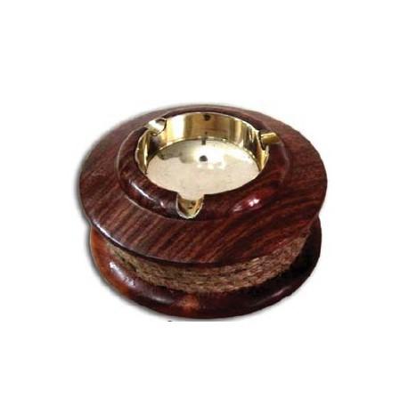 Cendrier en bois, laiton et cordage - Marineshop