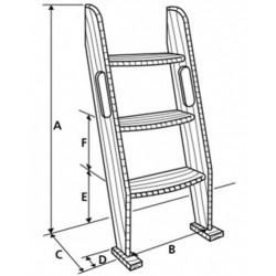 Descente d'escalier en teck - 5 marches - Dimensions - Marineshop