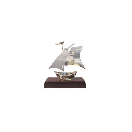 Voilier barque argenté SUNSET sur socle bois - 3308