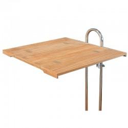 Table pliante de cockpit ou de cuisine en teck pour colonne