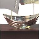 Echantillon Voilier barque argenté SUNSET sur socle bois - 3308