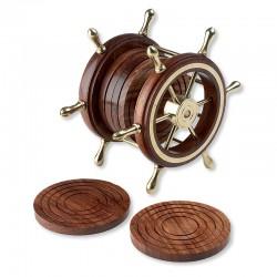 Set de 6 dessous de verres en bois - Barre à roue