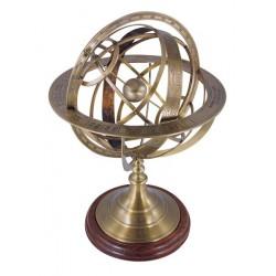 Sphère armillaire Laiton antique sur socle - marineshop.biz