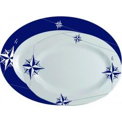 2 Plats ovales blancs et bleus motif Rose des vents