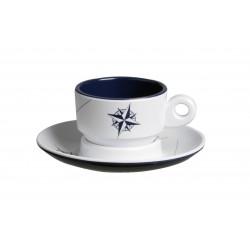 6 Tasses à café et sous-tasses motif Rose des vents