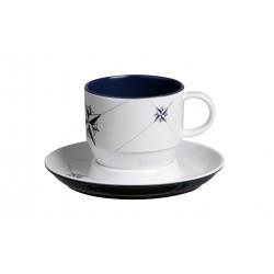 6 Tasses à thé et sous-tasses motif Rose des vents