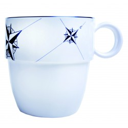 6 Mug blancs antidérapants motif Rose des vents