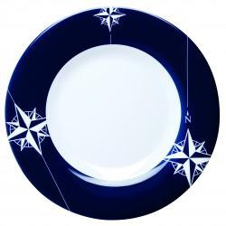 6 Assiettes plates rondes antidérapantes motif motif Rose des vents