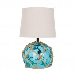 Lampe de table bouée en verre bleu