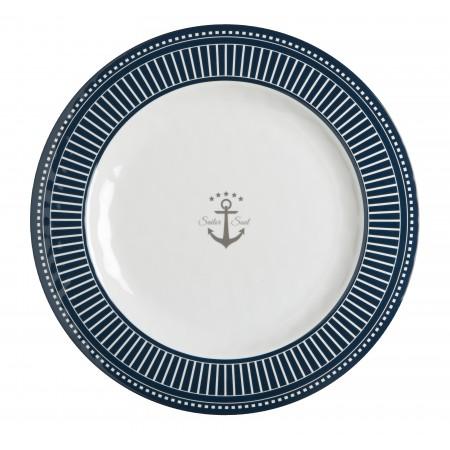 6 Assiettes plates rondes motif Ancre