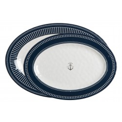 2 Plats ovales blancs et bleus - Motif Ancre