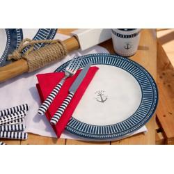 Set de 24 couverts de table bleus motif Ancre