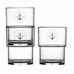 6 Verres empilables motif Ancre