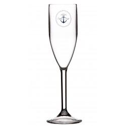 6 Flûtes à champagne motif Ancre