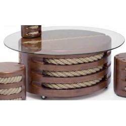 Table basse - Modèle Poulie - Bois vernis - Marineshop