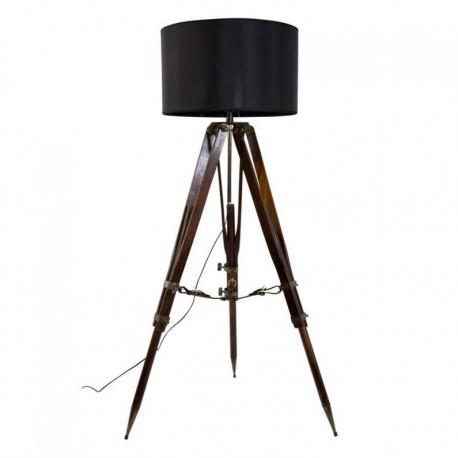 Lampe trépier de campagne - Abat-jour carré noir - Marineshop
