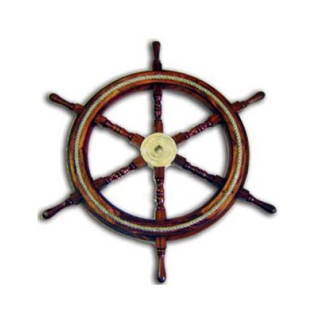 Barre à roue en bois avec cordage - Marineshop