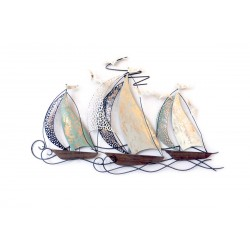3 BATEAUX DOUBLE VOILE STYLISES COQUES BOIS - BEAUX-ARTS