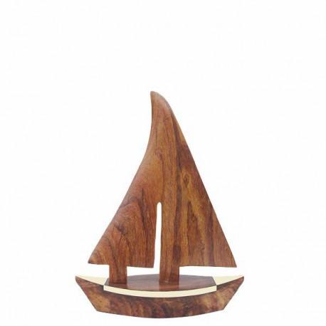 Deco - Voilier en bois - 17,5 x 23cm