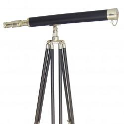 Longue vue en cuir et laiton sur support bois H:160cm