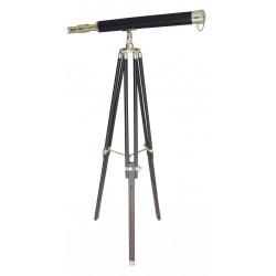Longue vue sur support bois et Laiton H:160cm