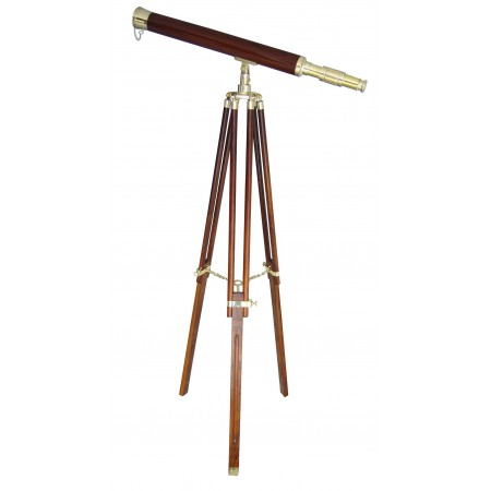 Longue vue en laiton sur support bois H:130cm