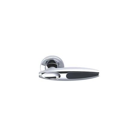 Poignée de porte chromée et noire - 460 CHROMEE