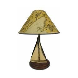 Lampe voilier abat jour carte ancienne - 7734