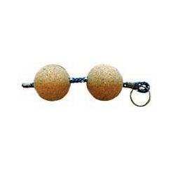 Porte-clés liège flottant deux boules - 1046