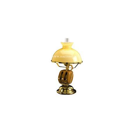 Lampe marine laiton sur pied POULIE double - 2005A OPALINE BLANCHE